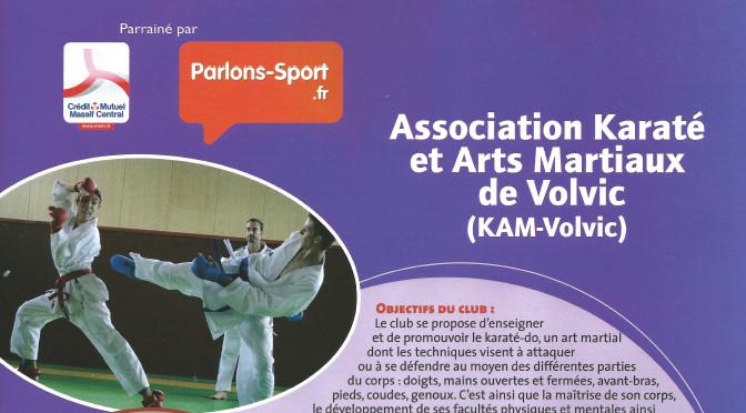 Le KAM-Volvic en vitrine de Sports Auvergne Oct.-Nov. 2014